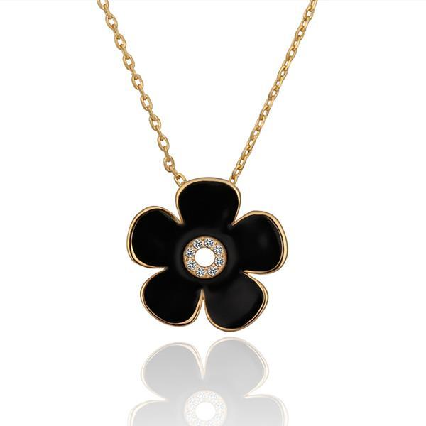 Vienna Jewelry Gold Plated Onyx Floral Center Emblem Necklace