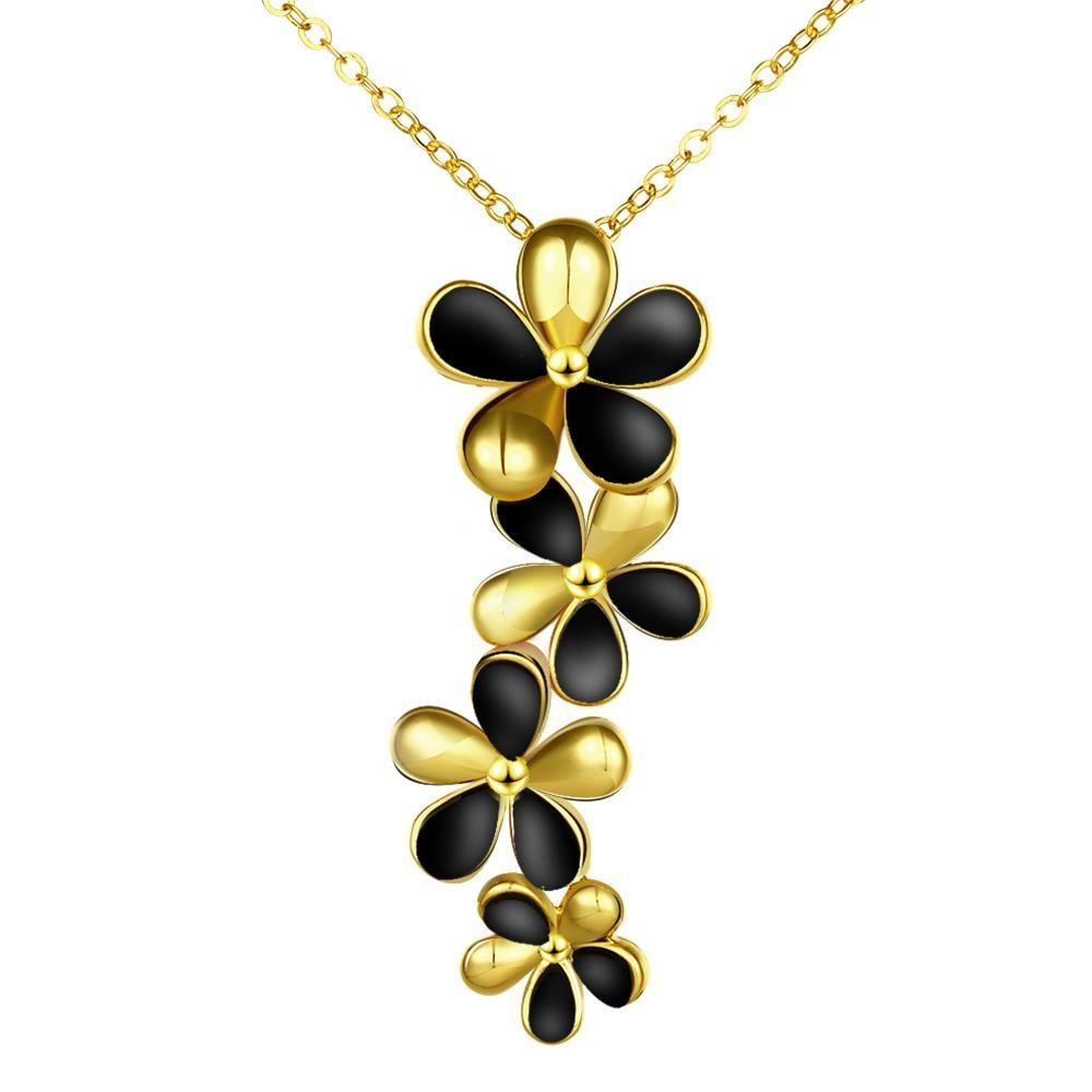 Vienna Jewelry Gold Plated Onyx Floral Dangling Necklace