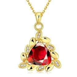 Vienna Jewelry Gold Plated Triangular Ruby Necklace - Thumbnail 0