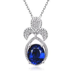 Vienna Jewelry White Gold Plated Trio Petals Sapphire Pendant Necklace - Thumbnail 0