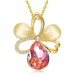 Vienna Jewelry Gold Plated Coral Citrine Clover Necklace - Thumbnail 0