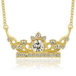 Vienna Jewelry Gold Plated Jewel Princess Tiara Necklace - Thumbnail 0