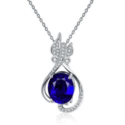 Vienna Jewelry White Gold Plated Petite Butterfly Sapphire Necklace - Thumbnail 0