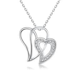 Vienna Jewelry White Gold Plated Large Double Love Necklace - Thumbnail 0