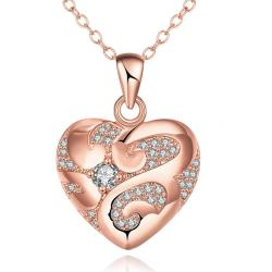 Vienna Jewelry Rose Gold Plated Tiffany's Love Necklace - Thumbnail 0