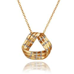 Vienna Jewelry Gold Plated Curved Triangular Emblem Necklace - Thumbnail 0