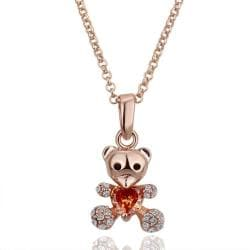 Vienna Jewelry Rose Gold Plated Petite Teddy Bear with Orange Citrine Necklace - Thumbnail 0