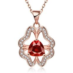 Vienna Jewelry Rose Gold Plated Abstract Ruby Clover Necklace - Thumbnail 0