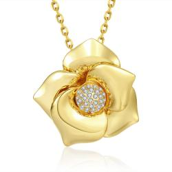 Vienna Jewelry Gold Plated Blossoming Floral Necklace - Thumbnail 0