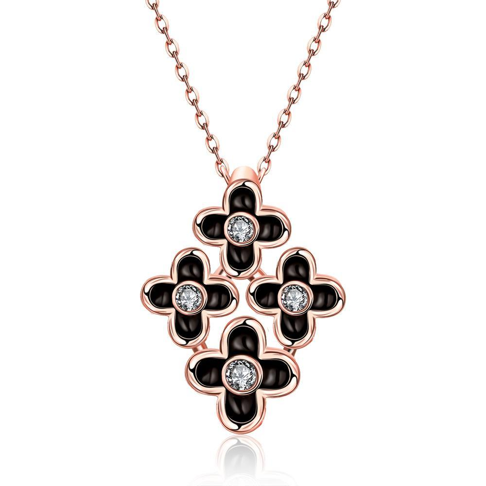 Vienna Jewelry Rose Gold Plated Quad-Floral Onyx Pendant Necklace