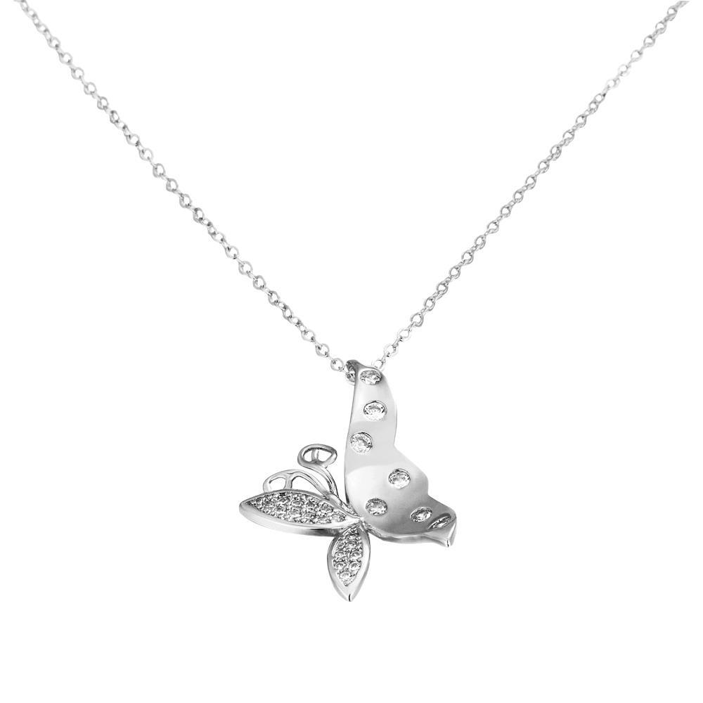 Vienna Jewelry White Gold Plated Flying Butterfly Necklace