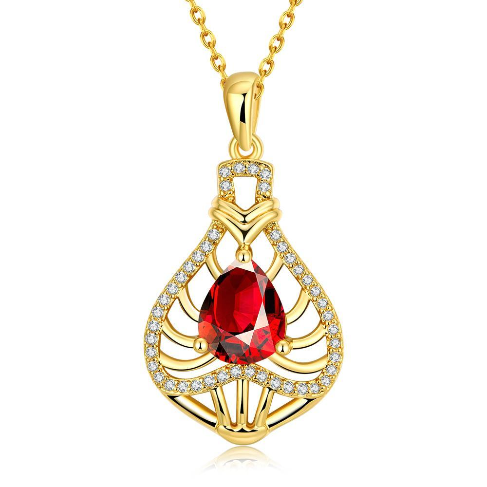 Vienna Jewelry Gold Plated Laser Cut Ruby Necklace