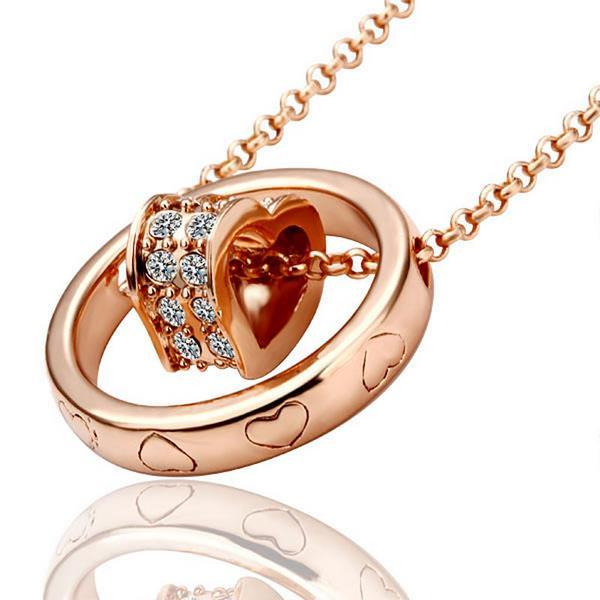Vienna Jewelry Rose Gold Plated Rolling Hearts Necklace