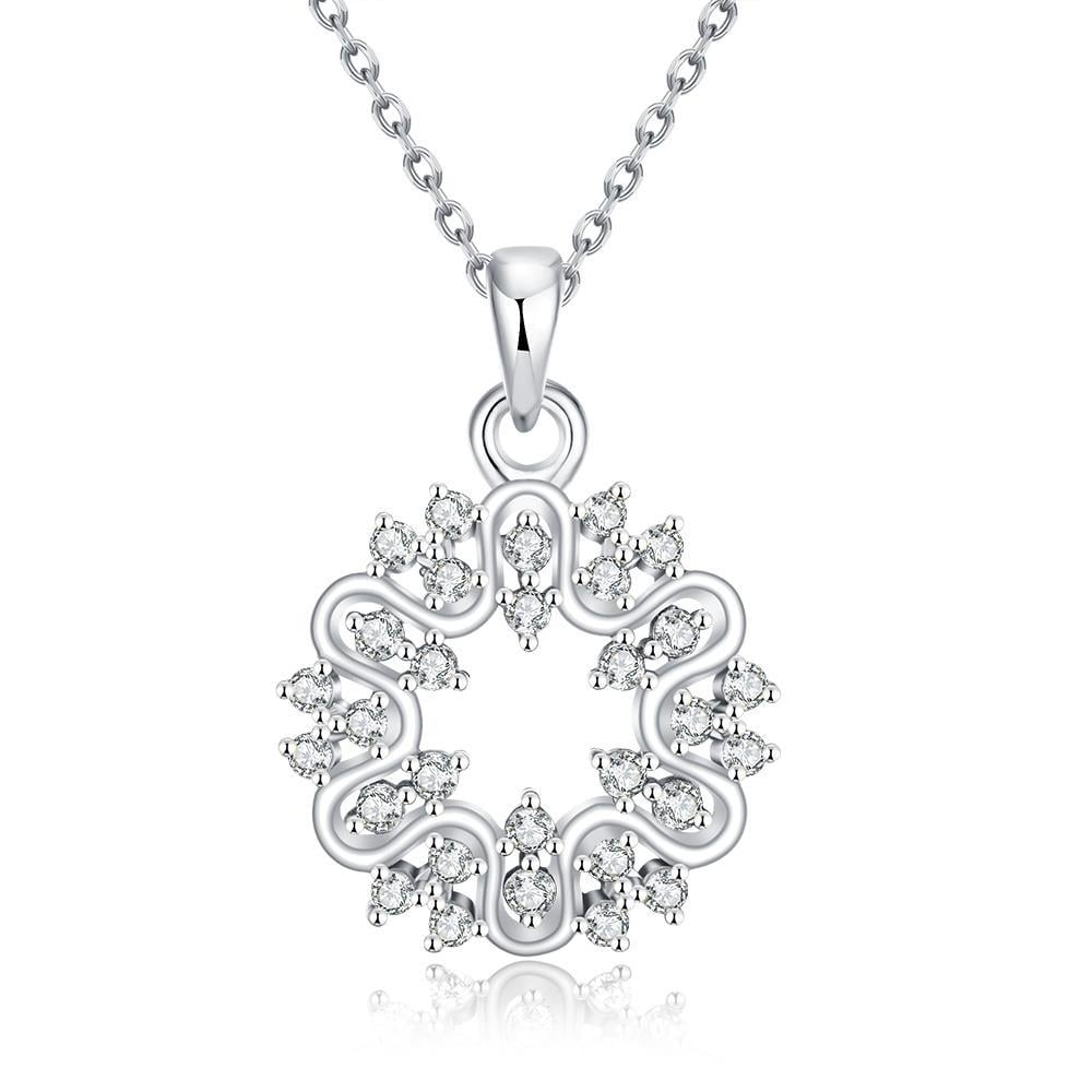 Vienna Jewelry White Gold Plated Circular Emblem Necklace