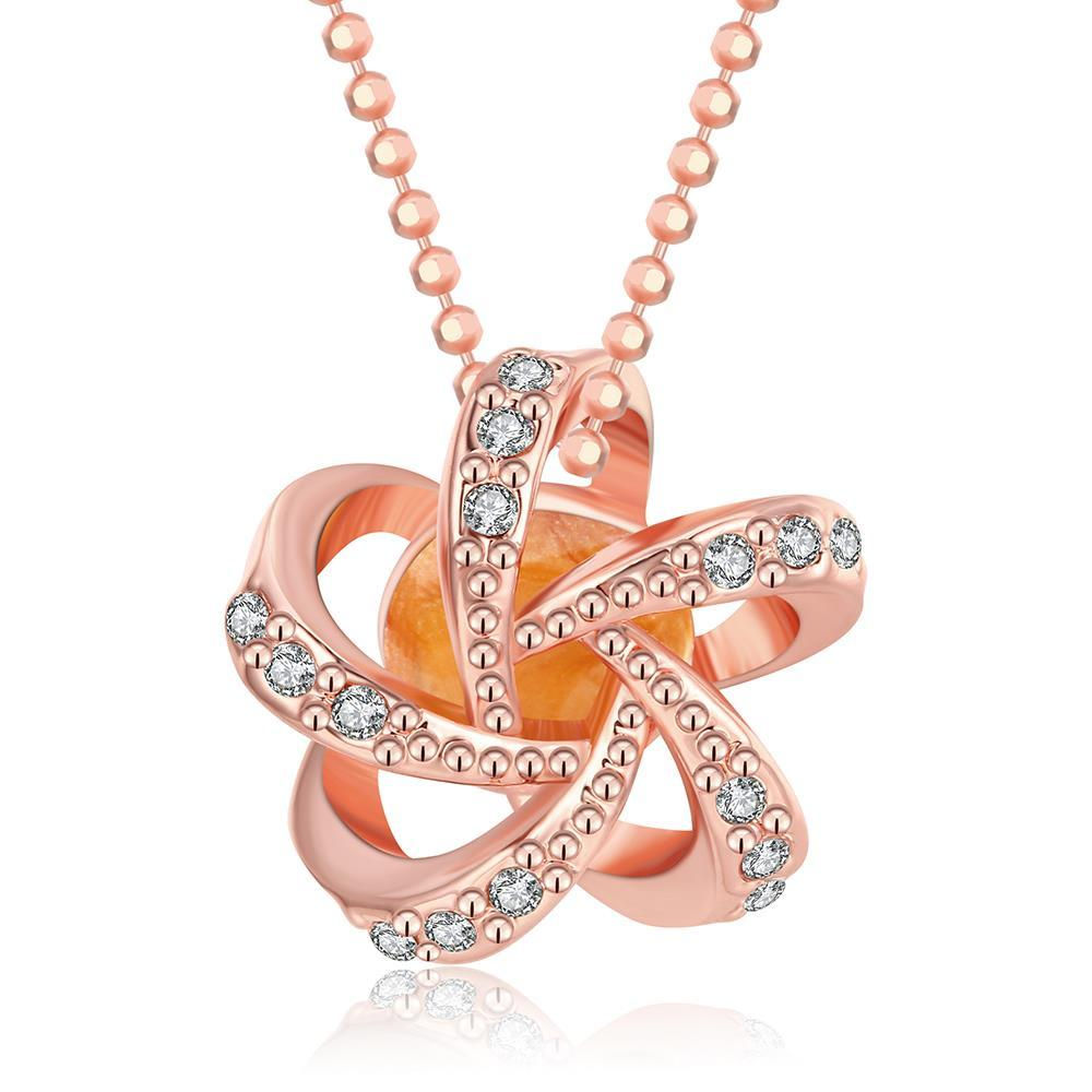 Vienna Jewelry 18K Rose Gold Plated Swirl of FireNecklace