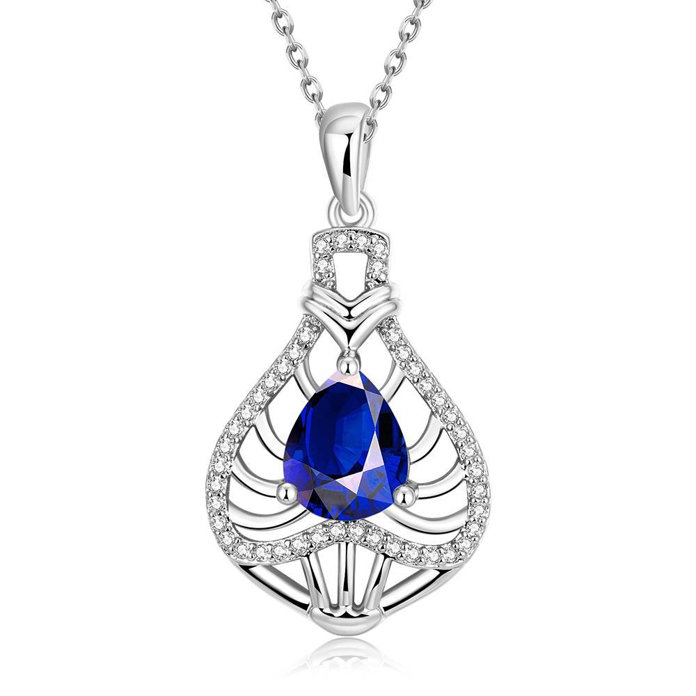 Vienna Jewelry White Gold Plated Laser Cut Saphire Necklace