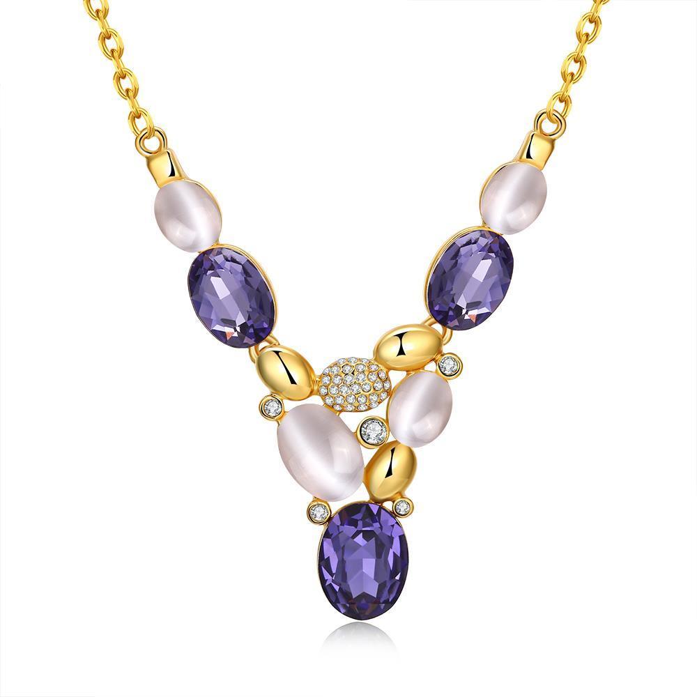 Vienna Jewelry Gold Plated Trio Purple Citrine Gem Drop Necklace