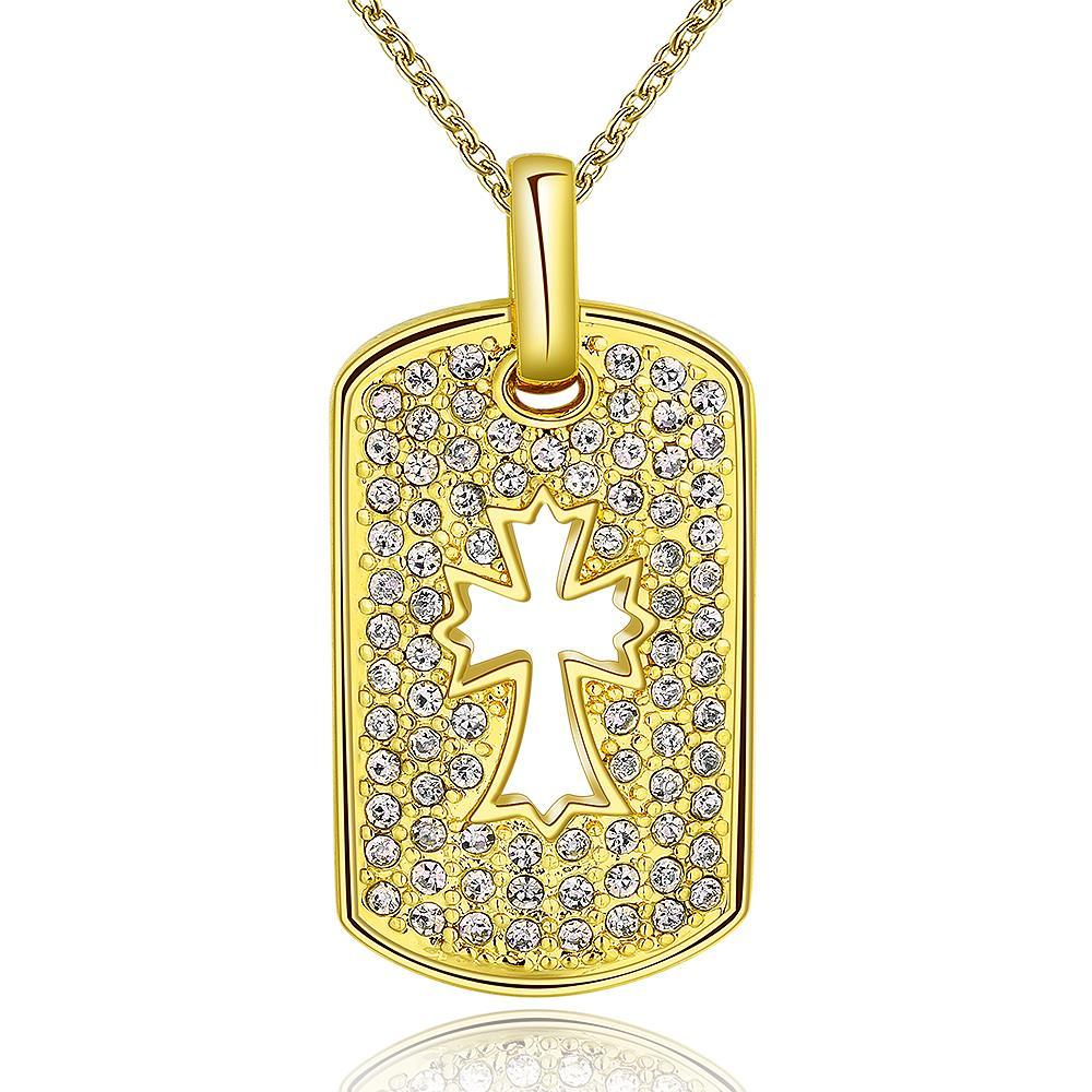 Vienna Jewelry Gold Plated Cross Hollow Dog Tag Necklace