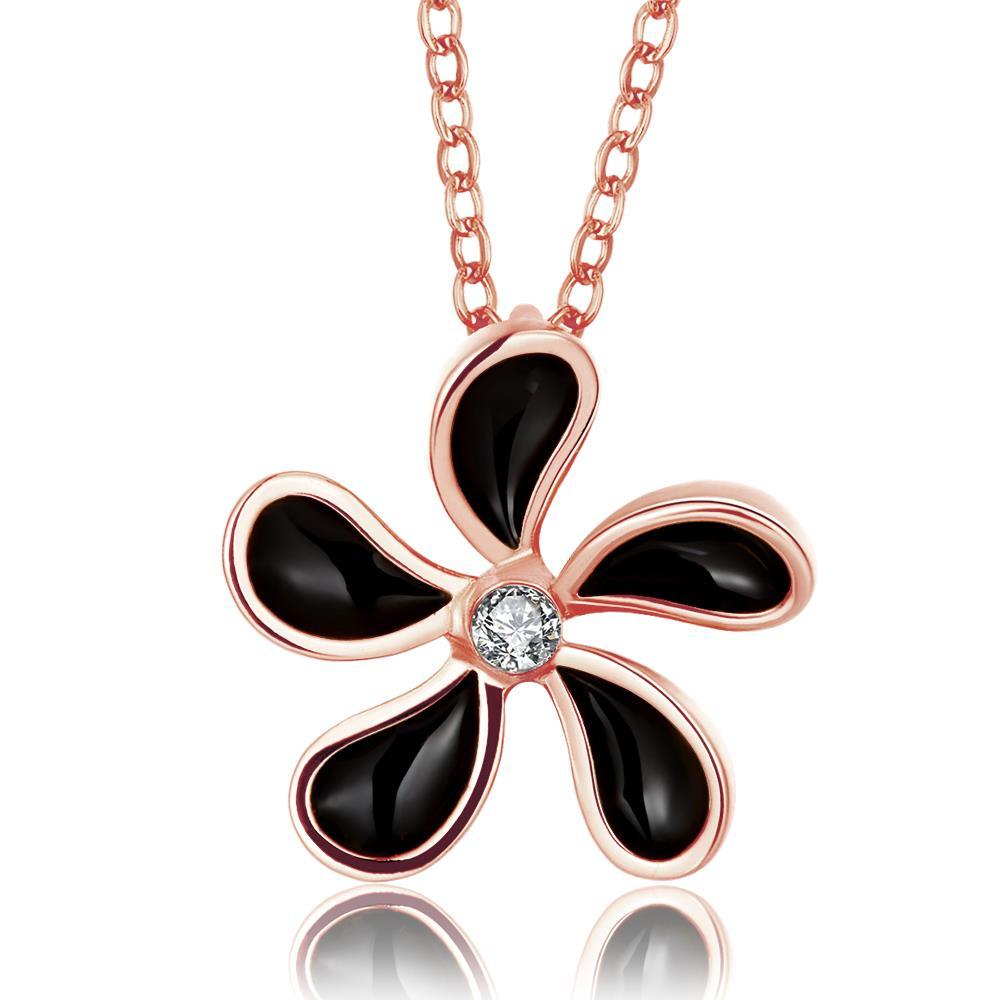 Vienna Jewelry Rose Gold Plated Onyx Spiral Floral Necklace