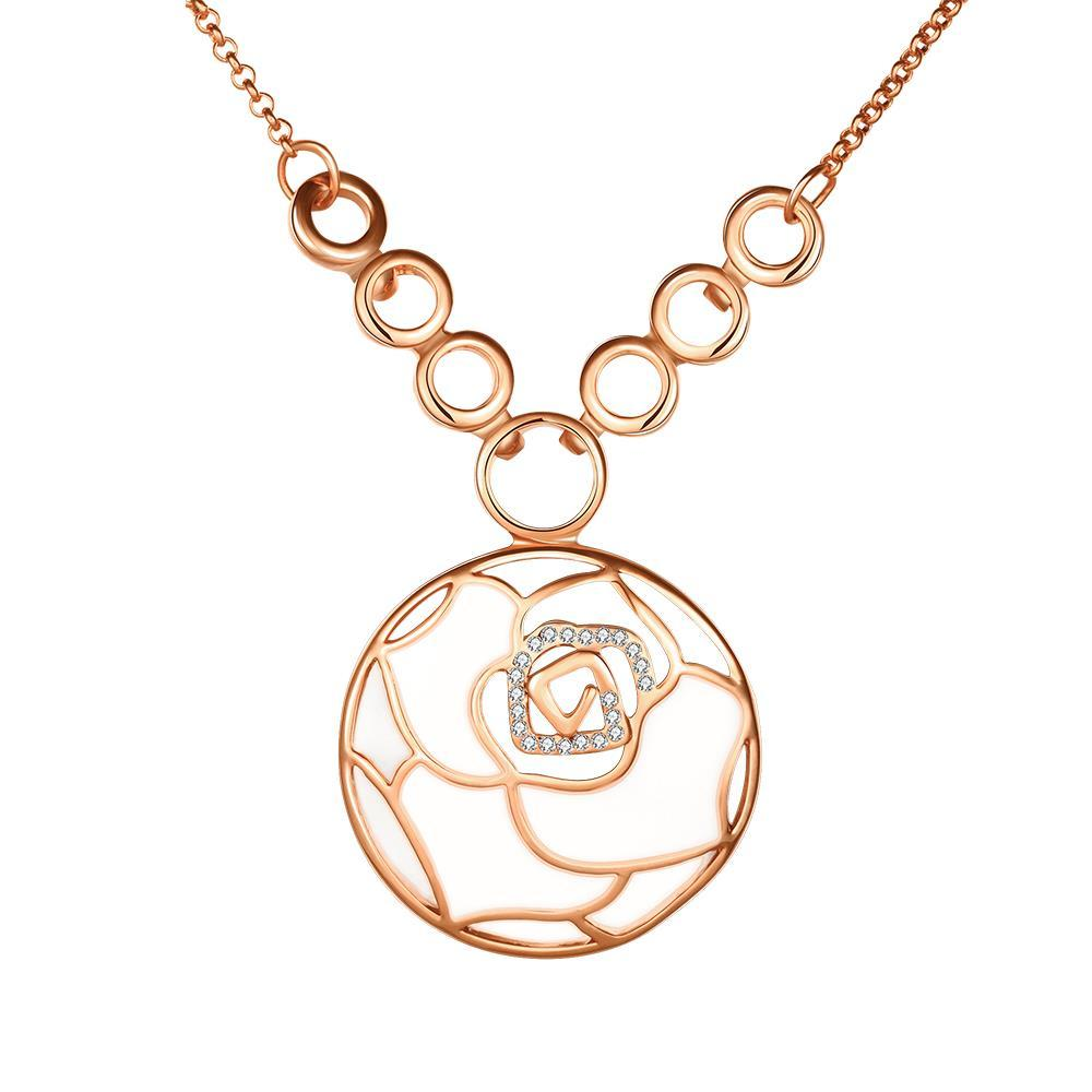 Vienna Jewelry Rose Gold Plated Ivory Floral Emblem Necklace