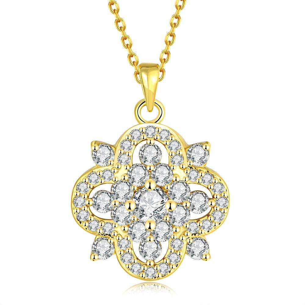 Vienna Jewelry Gold Plated Spade of Crystals Necklace