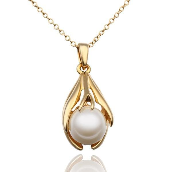 Vienna Jewelry Gold Plated Blossoming Pearl Necklace