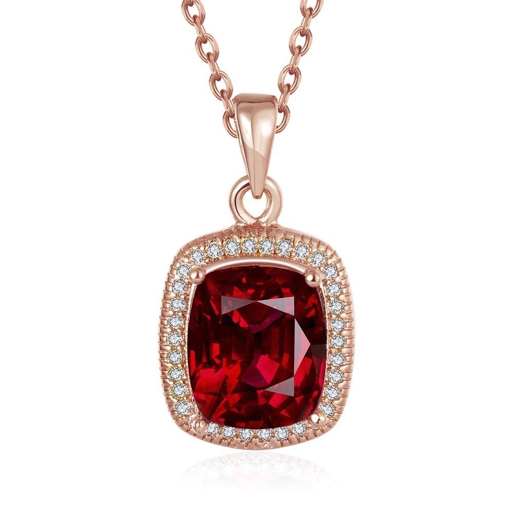 Vienna Jewelry Rose Gold Plated Ruby Gem Pendant Necklace