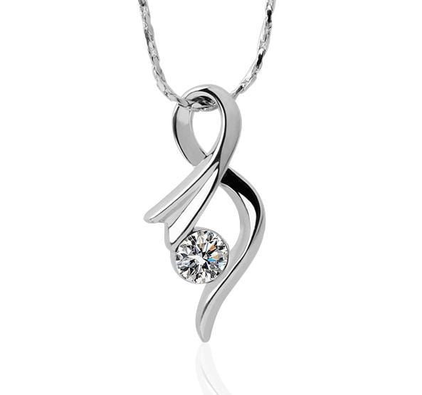 Vienna Jewelry White Gold Plated Curved Infinite Emblem Necklace