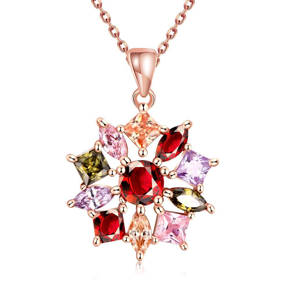 Vienna Jewelry Rose Gold Rainbow Snowflake Necklace