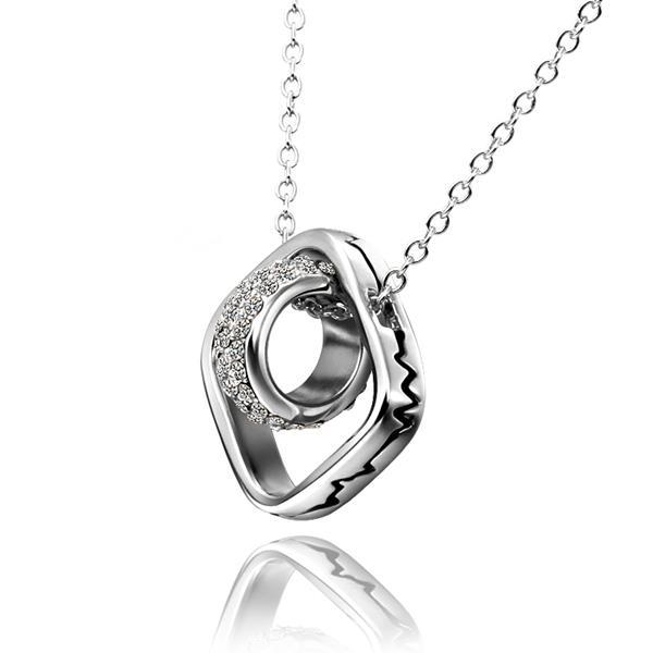 Vienna Jewelry White Gold Plated Rolling Rocks Emblem Necklace