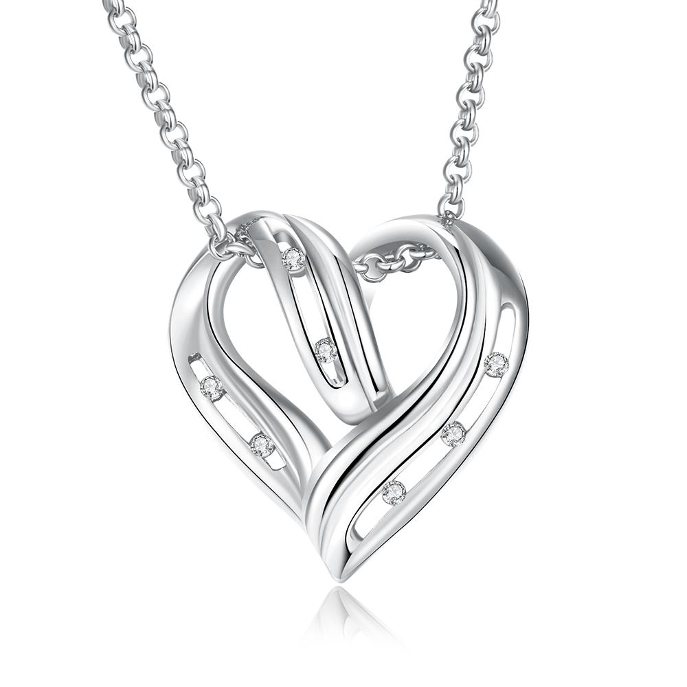 Vienna Jewelry White Gold Plated Laser Cut Heart Necklace