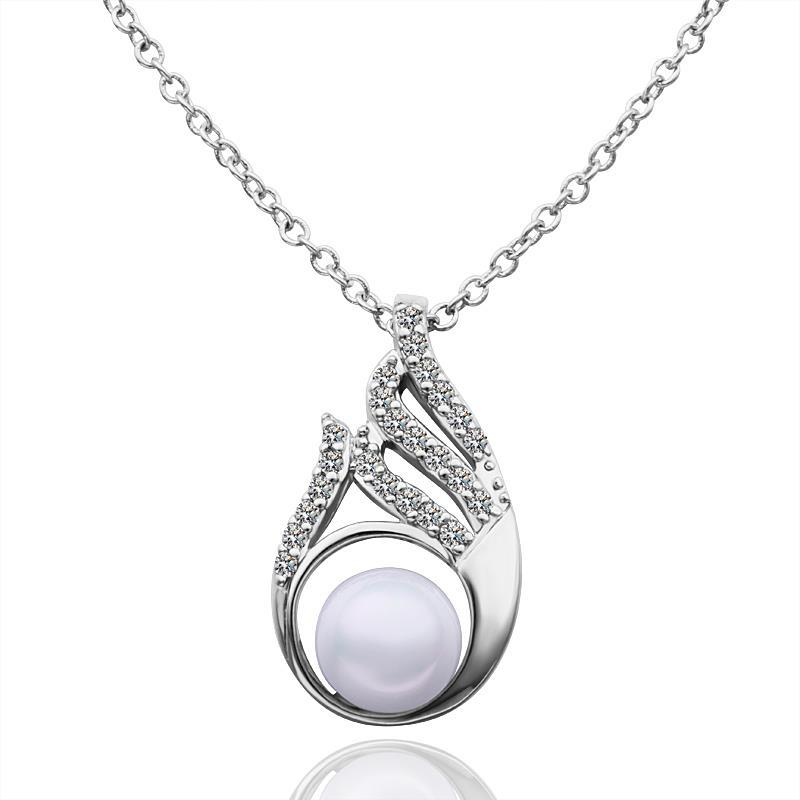 Vienna Jewelry White Gold Plated Spiral Emblem Cut Necklace