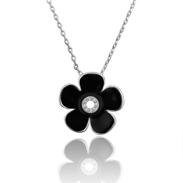 Vienna Jewelry White Gold Plated Onyx Floral Center Emblem Necklace