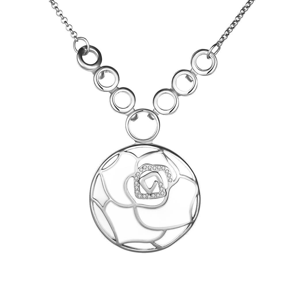 Vienna Jewelry White Gold Plated Ivory Floral Emblem Necklace