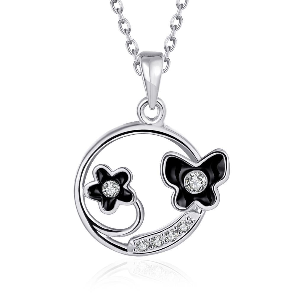 Vienna Jewelry White Gold Plated Duo-Floral Circular Necklace
