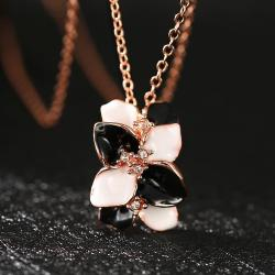 Vienna Jewelry Rose Gold Plated Onyx & Ivory Floral Orchid Necklace - Thumbnail 0