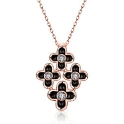 Vienna Jewelry Rose Gold Plated Quad-Floral Onyx Pendant Necklace - Thumbnail 0
