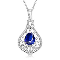 Vienna Jewelry White Gold Plated Laser Cut Saphire Necklace - Thumbnail 0