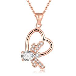 Vienna Jewelry Rose Gold Plated Crystal Filled Heart Necklace - Thumbnail 0