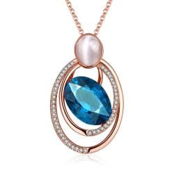 Vienna Jewelry Rose Gold Plated Spiral Sapphire Necklace - Thumbnail 0