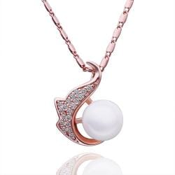 Vienna Jewelry Rose Gold Plated Pearl Anchor Emblem Necklace - Thumbnail 0