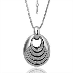 Vienna Jewelry White Gold Plated Abstract Circular Drop Necklace - Thumbnail 0