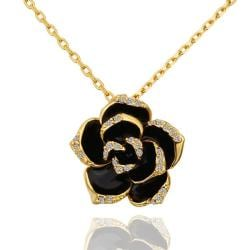 Vienna Jewelry Gold Plated Onyx Floral Petal Emblem Necklace - Thumbnail 0
