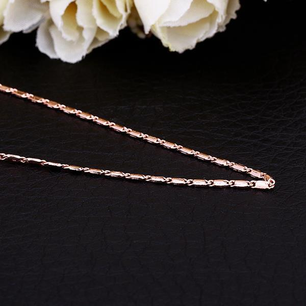 Vienna Jewelry Rose Gold Plated Hollow Petite Chain Necklace