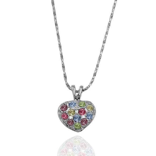 Vienna Jewelry White Gold Petite Heart Shaped with Rainbow Crystal Necklace