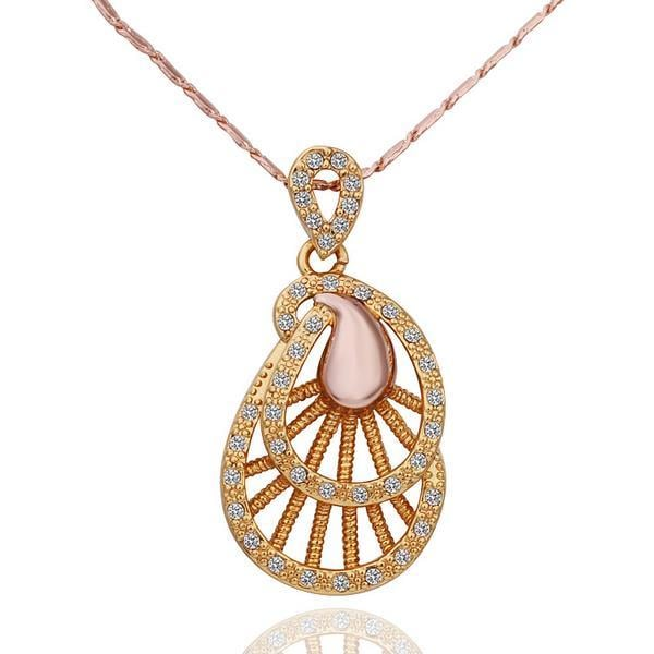 Vienna Jewelry Gold Plated Laser Cut Spiral Emblem Necklace