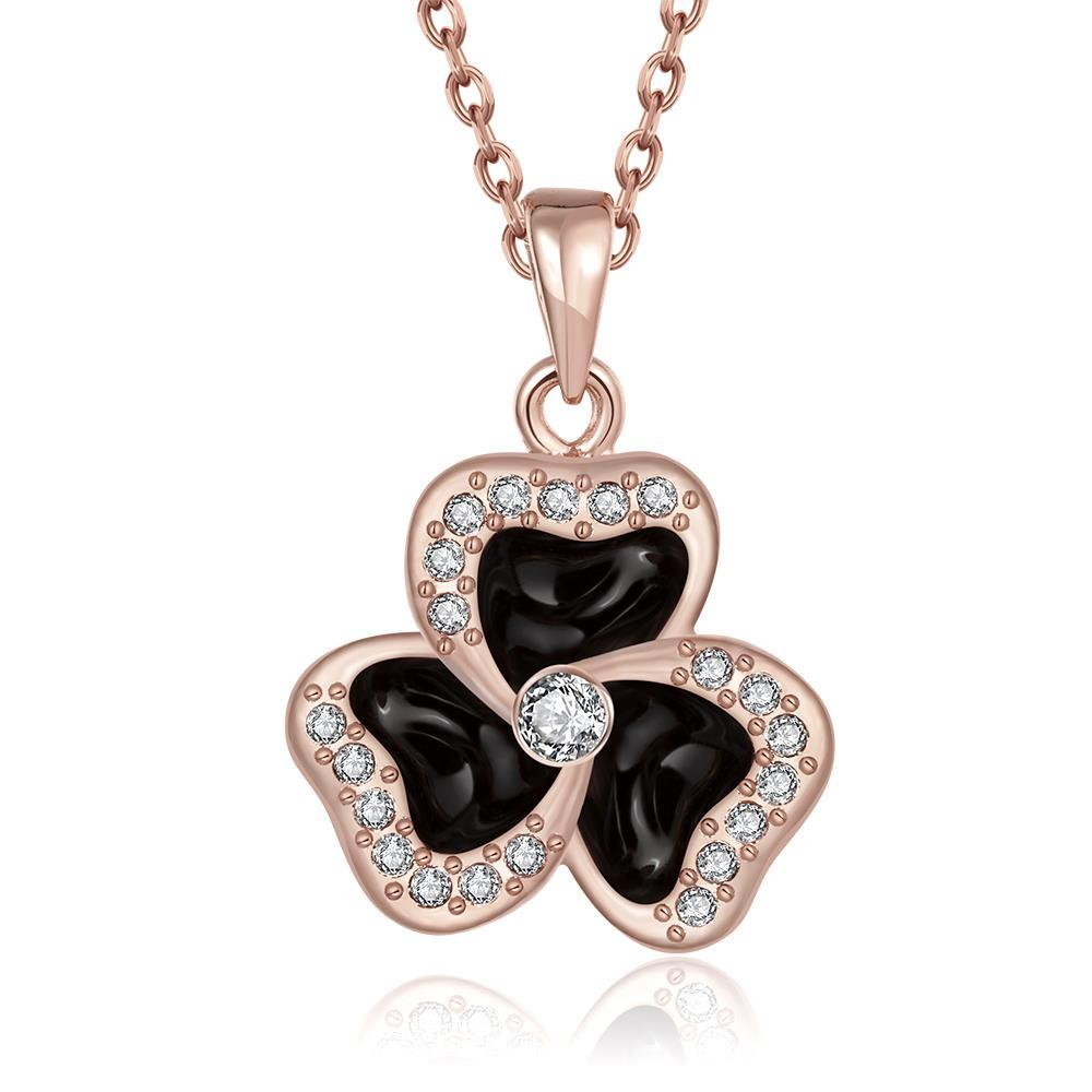Vienna Jewelry Rose Gold Plated Spiral Clover Pendant Necklace