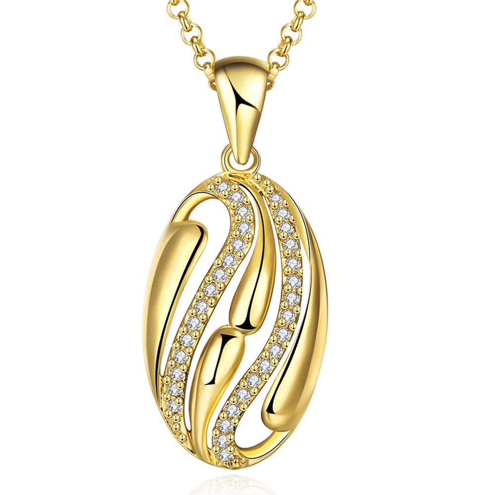 Vienna Jewelry Gold Plated Trio-Lined Emblem Necklace
