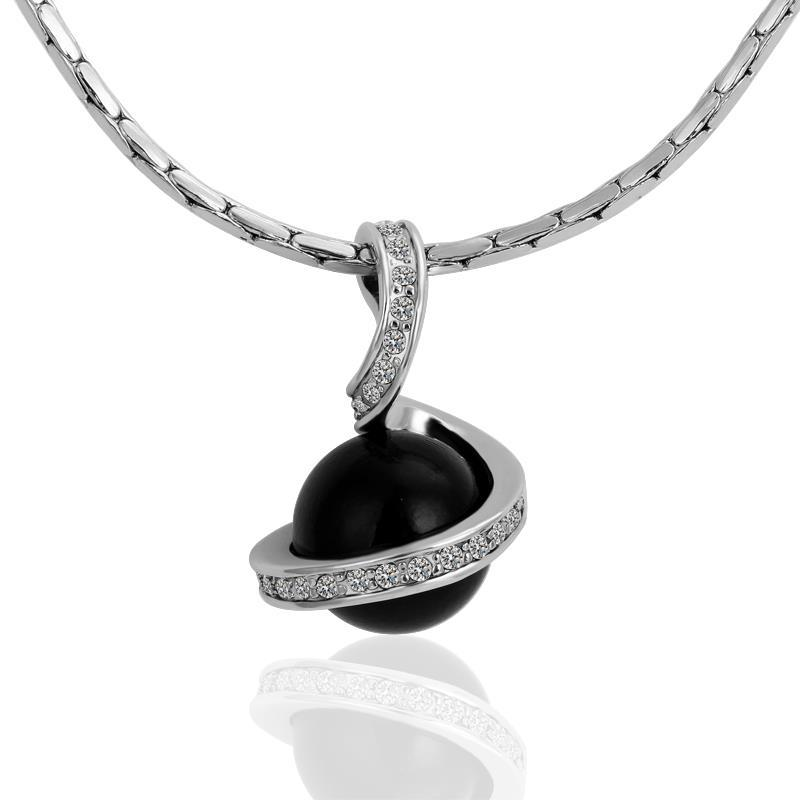 Vienna Jewelry White Gold Plated Spiral Drop Down Onyx Pearl Necklace