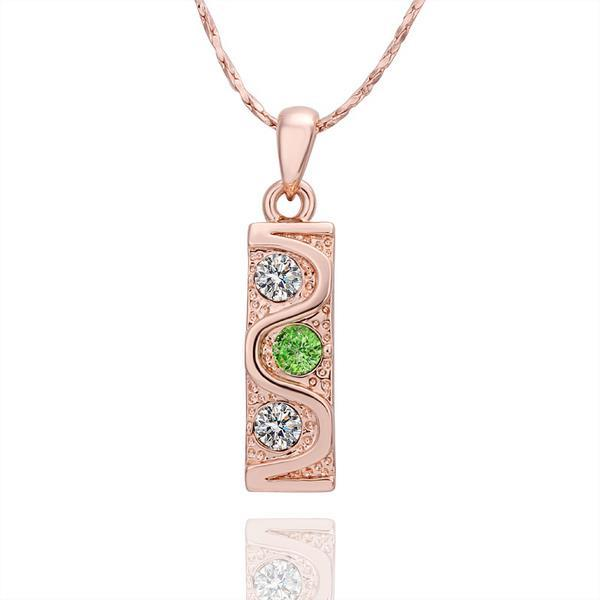 Vienna Jewelry Rose Gold Plated Emerlad & Crystal Horizontal Drop Necklace